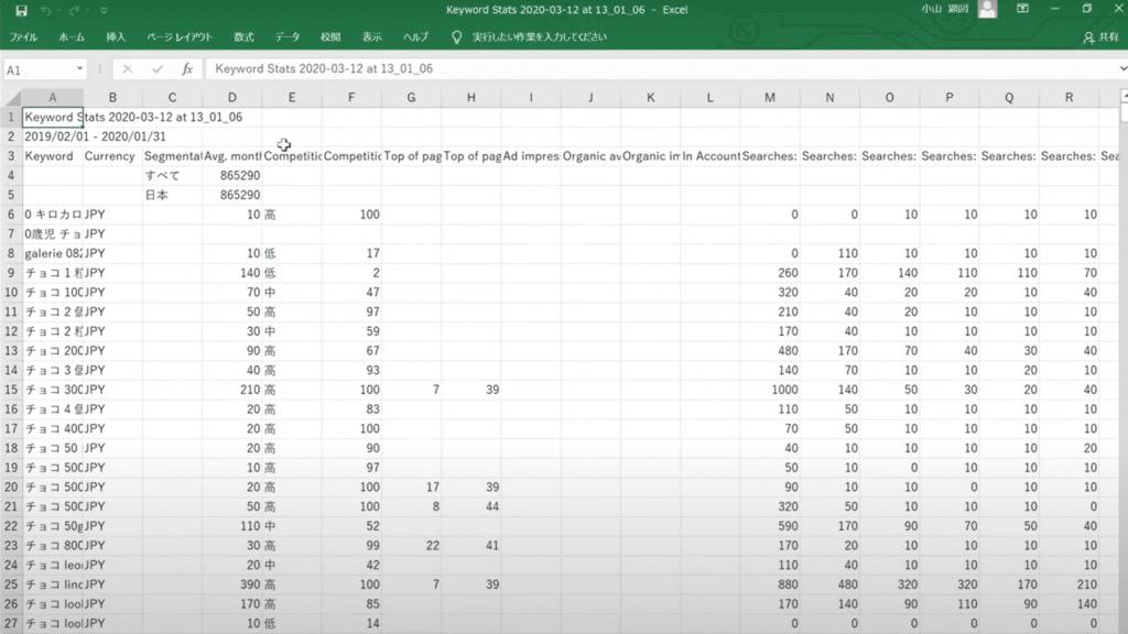 キーワードプランナー Excel
